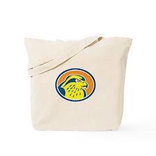 Peregrine Falcon Head Circle Retro Tote Bag