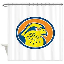 Peregrine Falcon Head Circle Retro Shower Curtain