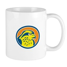 Peregrine Falcon Head Circle Retro Mugs