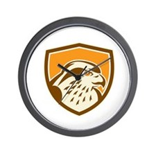 Peregrine Falcon Head Shield Retro Wall Clock
