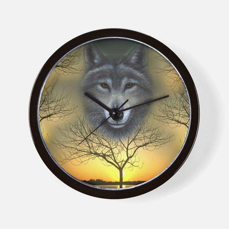 Wolf, 'Shaman's Dream' Wall Clock