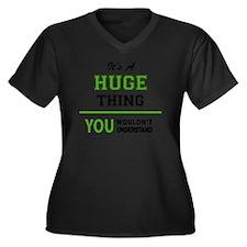 Cute Huge Women's Plus Size V-Neck Dark T-Shirt