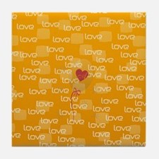 Love Text Pattern Tile Coaster
