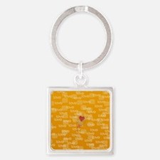 Love Text Pattern Square Keychain