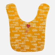 Love Text Pattern Bib