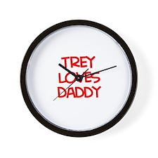 Trey Loves Daddy Wall Clock