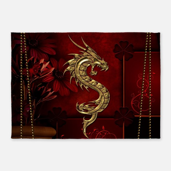 Wonderful golden chinese dragon 5'x7'Area Rug