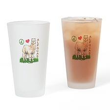 PEACE LOVE ALPACAS Drinking Glass