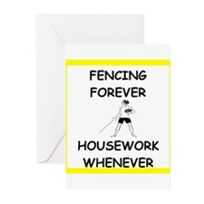 fencing joke Greeting Cards