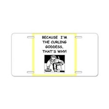 curling joke Aluminum License Plate