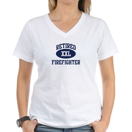 Retired Firefighter Women's V-Neck T-Shirt