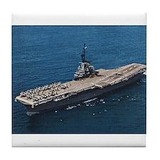 USS Hornet Ship's Image Tile Coaster