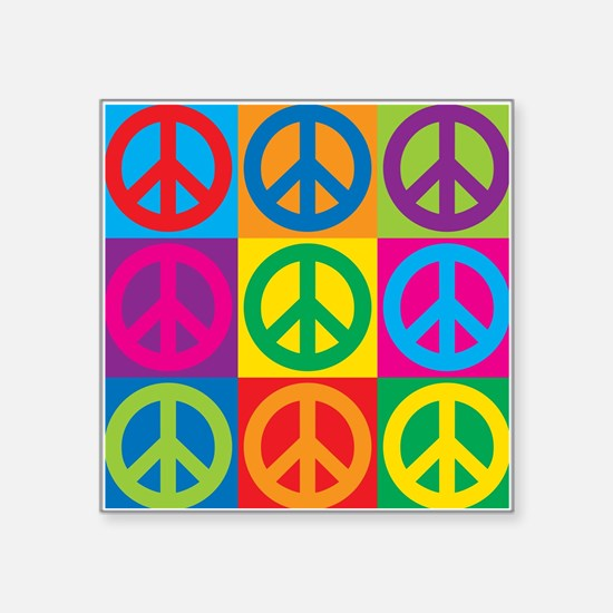 "Pop Art Peace Square Sticker 3"" x 3"""