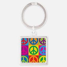 Pop Art Peace Square Keychain