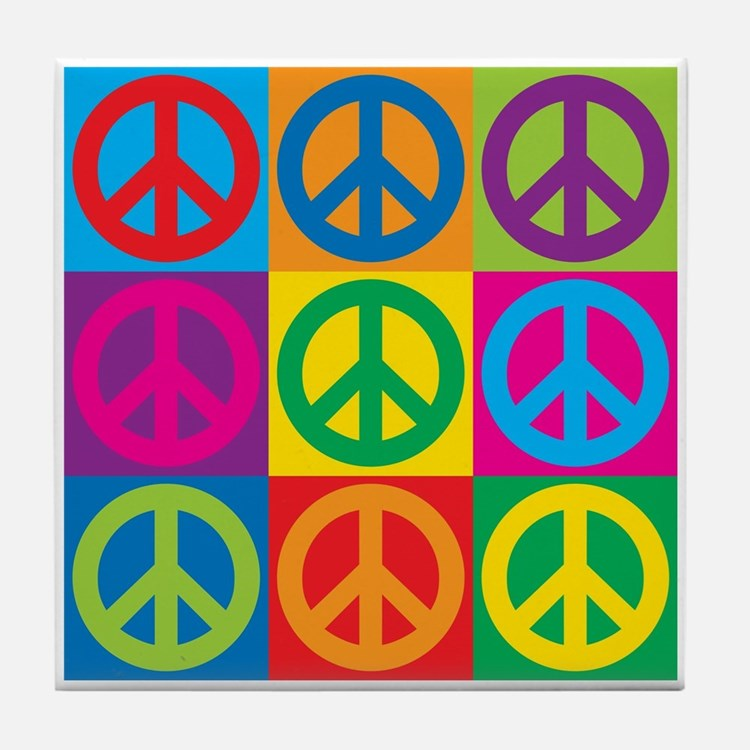 Pop Art Peace Tile Coaster
