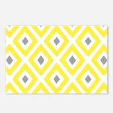 Ikat Pattern Yellow and G Postcards (Package of 8)