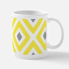Ikat Pattern Yellow and Grey Diamond Mug