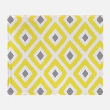Ikat Pattern Yellow and Grey Diamond Throw Blanket