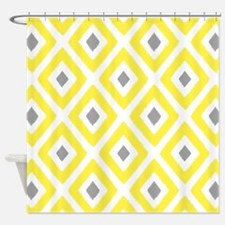 Ikat Pattern Yellow and Grey Diamon Shower Curtain