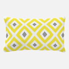 Ikat Pattern Yellow and Grey Diamond Pillow Case