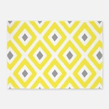 Ikat Pattern Yellow and Grey Diamon 5'x7'Area Rug