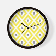 Ikat Pattern Yellow and Grey Diamond Wall Clock