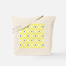 Ikat Pattern Yellow and Grey Diamond Tote Bag