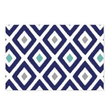 Ikat Pattern Navy Blue Aq Postcards (Package of 8)