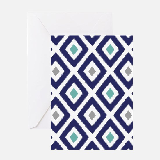 Ikat Pattern Navy Blue Aqua Grey Dia Greeting Card