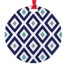 Ikat Pattern Navy Blue Aqua Grey Di Ornament