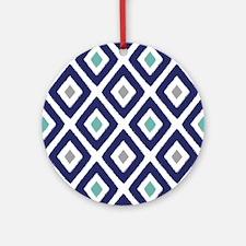 Ikat Pattern Navy Blue Aqua Grey Ornament (Round)