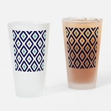 Ikat Pattern Navy Blue Aqua Grey Di Drinking Glass
