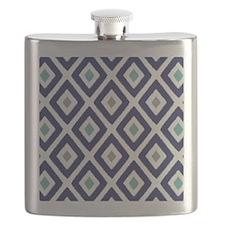 Ikat Pattern Navy Blue Aqua Grey Diamond Flask