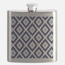 Ikat Pattern Navy Blue Aqua Grey Diamond Flask
