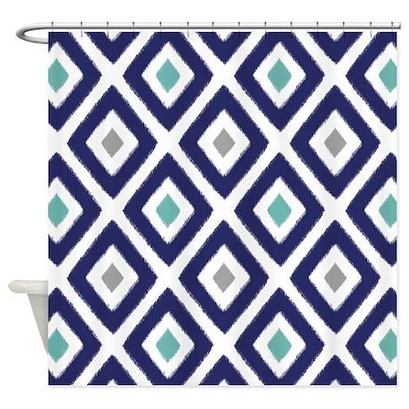 Ikat Pattern Navy Blue Aqua Grey Di Shower Curtain By Cutetoboot