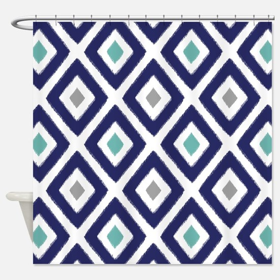 Ikat Pattern Navy Blue Aqua Grey Di Shower Curtain