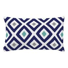 Ikat Pattern Navy Blue Aqua Grey Diamo Pillow Case
