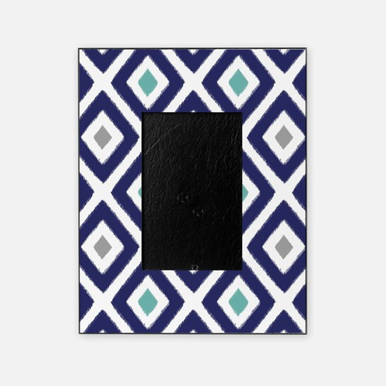 Ikat Pattern Navy Blue Aqua Grey Dia Picture Frame