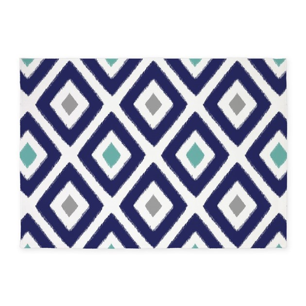 Ikat Pattern Navy Blue Aqua Grey Di 5'x7'Area Rug by ...