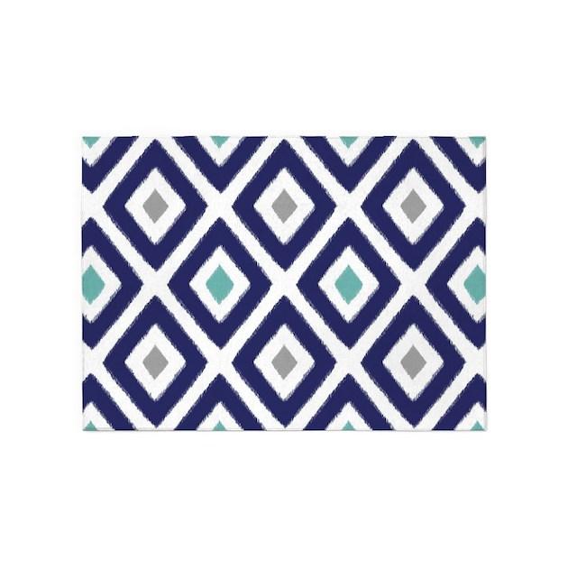 Ikat Pattern Navy Blue Aqua Grey Di 5x7Area Rug By