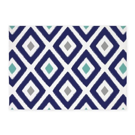 Perfect Ikat Pattern Navy Blue Aqua Grey Di 5u0027x7u0027Area Rug