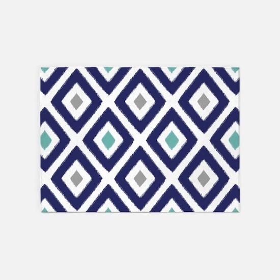 Ikat Pattern Navy Blue Aqua Grey Di 5'x7'Area Rug