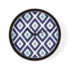 Ikat Pattern Navy Blue Aqua Grey Diamon Wall Clock