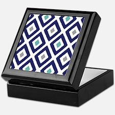 Ikat Pattern Navy Blue Aqua Grey Diam Keepsake Box