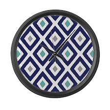Ikat Pattern Navy Blue Aqua Grey Large Wall Clock