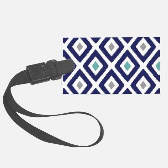 Ikat Pattern Navy Blue Aqua Grey Luggage Tag