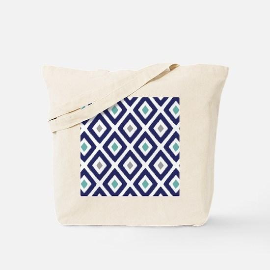 Ikat Pattern Navy Blue Aqua Grey Diamond Tote Bag