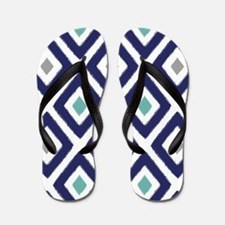Ikat Pattern Navy Blue Aqua Grey Diamon Flip Flops