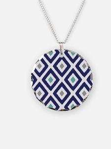 Ikat Pattern Navy Blue Aqua Necklace