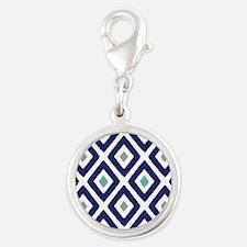 Ikat Pattern Navy Blue Aqua Gr Silver Round Charm